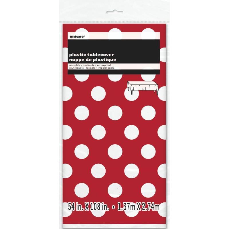 nappe jetable plastique pois rouge et blanche. Black Bedroom Furniture Sets. Home Design Ideas