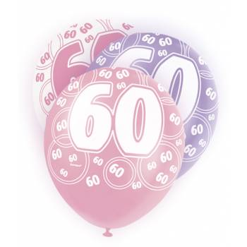 6 Ballons rose/blanc/parme 60 ans