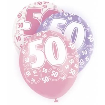6 Ballons rose/blanc/parme 50 ans