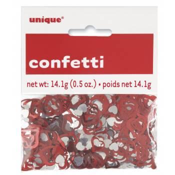 Confettis de table métallique coeur rouge argent