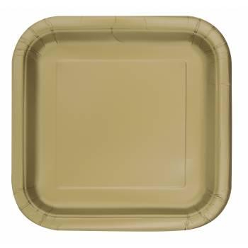 Assiettes carton jetables carrée or