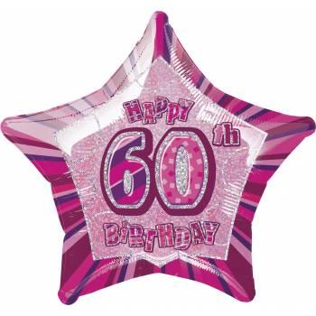 Ballon Star Pink 60 ans