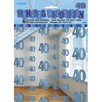 6 Guirlandes fils 40 ans Bleu