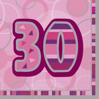 16 Serviettes 30 ans Pink