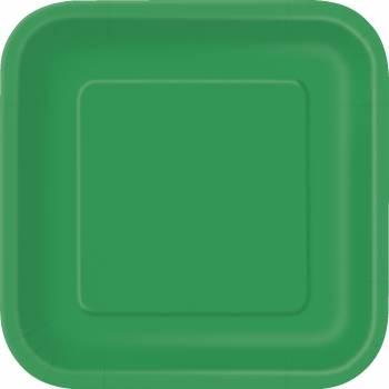 Assiettes carton jetables à dessert carrée verte