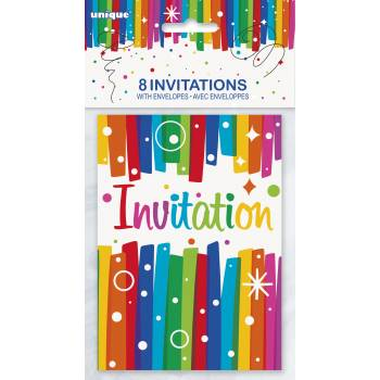 8 Cartes invitations Rainbow