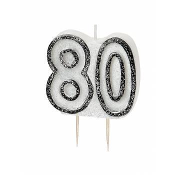 Bougie 80 ans Black/White pailleté