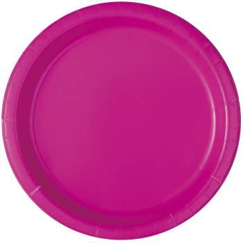 16 Assiettes en carton rondes fluo rose