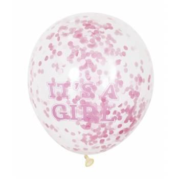 6 Ballons confettis It's a girl