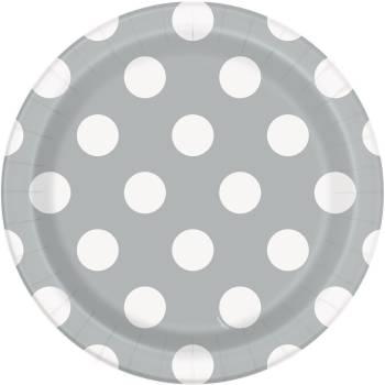 Assiettes à dessert carton jetables pois gris