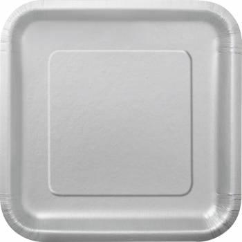 Assiettes carton jetables carrée argent