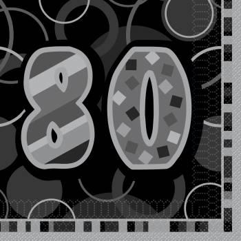 16 Serviettes 80 ans Black/White