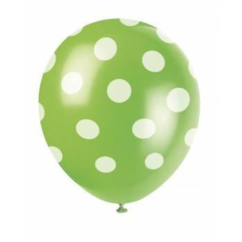 6 Ballons pois vert
