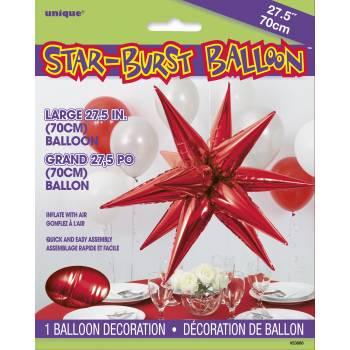 Ballon hélium large étoile 3D rouge