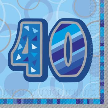 16 Serviettes 40 ans Bleu