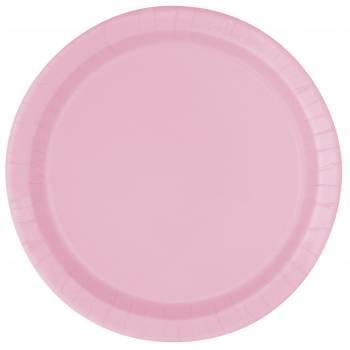 Assiettes à dessert carton jetables rondes rose