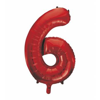 Ballon géant chiffre 6 rouge