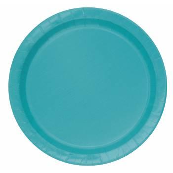 Assiettes à dessert carton jetables rondes bleu