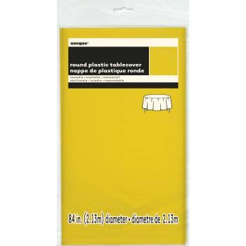 Nappe en plastique ronde fluo jaune