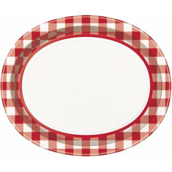 8 assiettes ovale Vichy rouge
