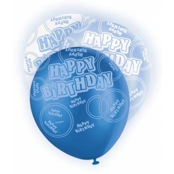 6 Ballons bleu/blanc Happy Birthday
