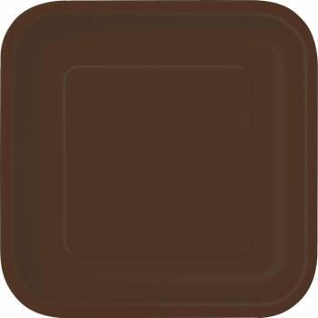 Assiettes à dessert carton jetables carrée chocolat