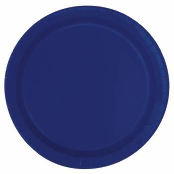 Assiettes à dessert carton jetables rondes bleu marine