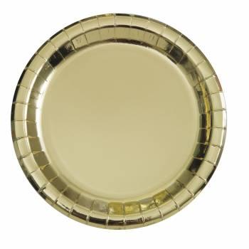 8 Assiettes rondes en carton or métallisé