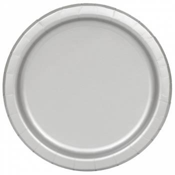 Assiettes carton jetables ronde argent