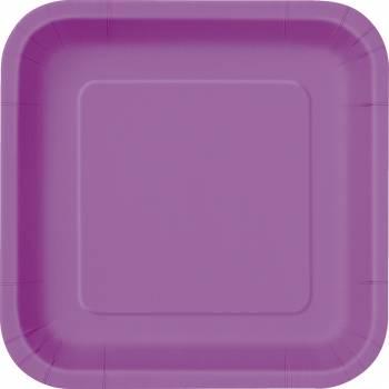 16 Assiettes dessert carrée violette claire