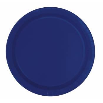 Assiettes carton jetables rondes bleu marine