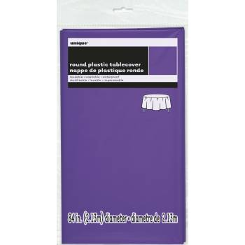 Nappe ronde jetable plastique violette fluo