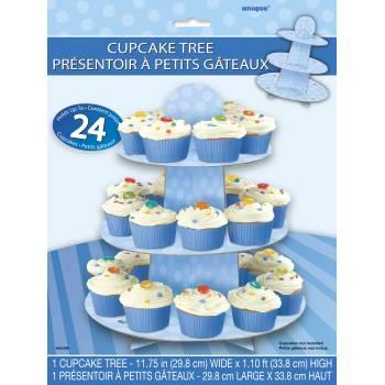 Stand à cupcakes à pois bleu
