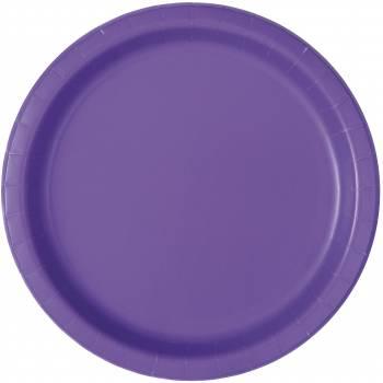 Assiettes à dessert jetables fluo violette