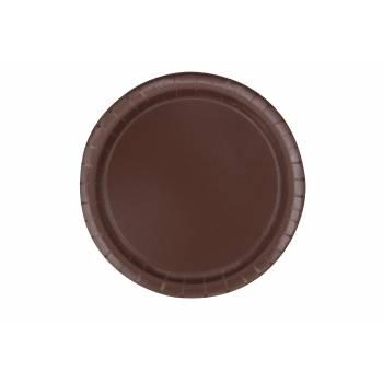 Assiettes à dessert carton jetables rondes chocolat