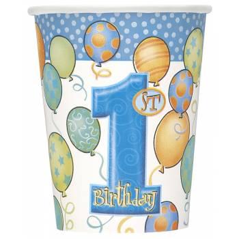 8 Gobelets 1 an ballons bleu
