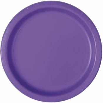 Assiettes rondes jetables fluo violette