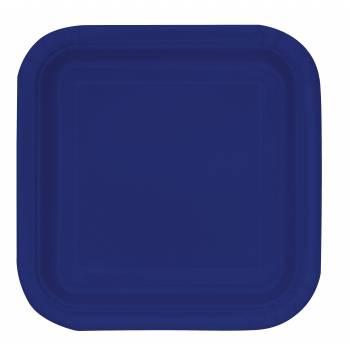Assiettes carton jetables carrée bleu marine