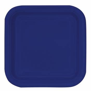 16 Assiettes dessert carrée bleu marine