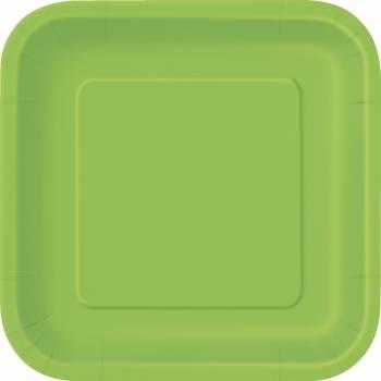 Assiettes à dessert carton jetables carrée vert lime