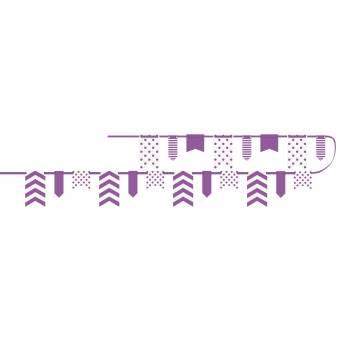 Guirlande fanions chevrons pois violette