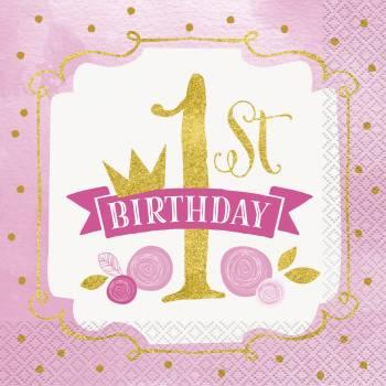 16 Serviettes 1 an HB Princesse