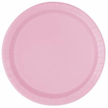 16 Assiettes en carton rondes rose