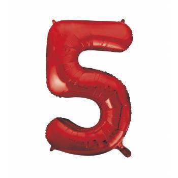 Ballon géant chiffre 5 rouge
