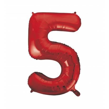 ballon h lium g ant chiffre 5 rouge. Black Bedroom Furniture Sets. Home Design Ideas