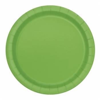 Assiettes carton jetables rondes vert lime