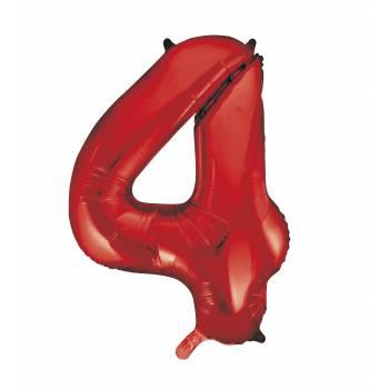 Ballon géant chiffre 4 rouge