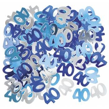 Confettis metallic 40 ans Bleu