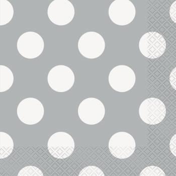 Serviettes jetables à pois gris