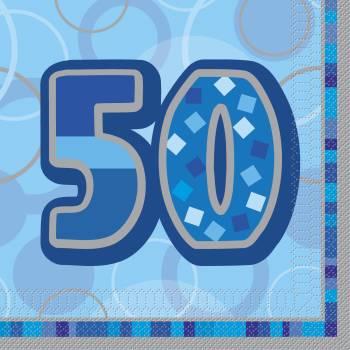 16 Serviettes 50 ans Bleu